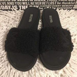 New Michael Kors MK Slides Faux Fur Sandals